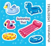 inflatable swimming set. cute... | Shutterstock .eps vector #1403078561