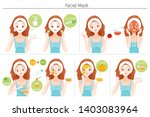 young woman mask her face with... | Shutterstock .eps vector #1403083964