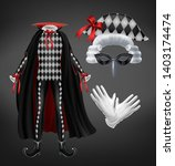harlequin costume with cape ... | Shutterstock .eps vector #1403174474