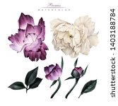 peonies and leaves  watercolor  ... | Shutterstock . vector #1403188784