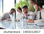 business team working on laptop ... | Shutterstock . vector #1403212817