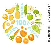 healthy food set   fruits and... | Shutterstock .eps vector #1403255957