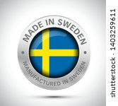 made in sweden flag metal icon  | Shutterstock .eps vector #1403259611