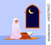 muslim woman reading quran ... | Shutterstock .eps vector #1403279027