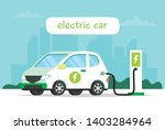 electric car charging with city ... | Shutterstock .eps vector #1403284964