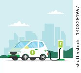 electric car charging with city ... | Shutterstock .eps vector #1403284967