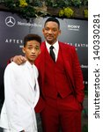 "Small photo of NEW YORK - MAY 29: Actor Will Smith (R) and son Jaden attend the premiere of ""After Earth"" at the Ziegfeld Theatre on May 29, 2013 in New York City."