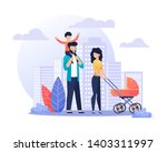 happy smiling parents on walk... | Shutterstock .eps vector #1403311997