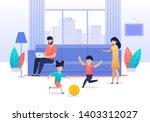 family spending time at home.... | Shutterstock .eps vector #1403312027