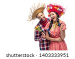 happy man and young woman in... | Shutterstock . vector #1403333951