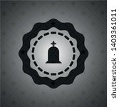 tombstone icon inside dark badge | Shutterstock .eps vector #1403361011