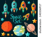 collection of spaceship ... | Shutterstock .eps vector #140336917