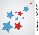 Red And Blue Paper Stars In...