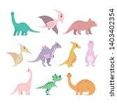 set of cartoon dinosaurs. cute... | Shutterstock .eps vector #1403402354