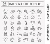 baby icons set. outline symbols ... | Shutterstock . vector #1403456384
