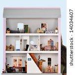 two kids peeking in a dollhouse ...   Shutterstock . vector #14034607