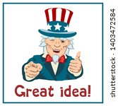 smiling uncle sam shows one... | Shutterstock .eps vector #1403472584