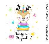 magic cute unicorn deer with... | Shutterstock .eps vector #1403474921