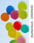 colored balloons on blue sky | Shutterstock . vector #14035642
