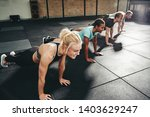 diverse group of fit people in... | Shutterstock . vector #1403629247