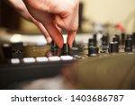 dj girl raises volume on sound... | Shutterstock . vector #1403686787