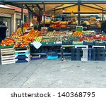 Market Stalls With Variety Of...