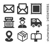 Post Icons Set on White Background. Vector