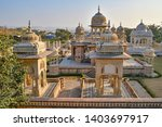 Group of cenotaphs with lake in the background, at the Royal Gaitor, Jaipur, Rajasthan, India
