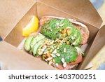 healthy food  avocado toasts... | Shutterstock . vector #1403700251