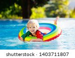 child in swimming pool floating ... | Shutterstock . vector #1403711807