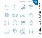 cinema related icons. editable...   Shutterstock .eps vector #1403716217