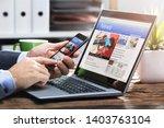 close up of a businessperson's... | Shutterstock . vector #1403763104