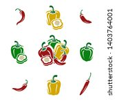 chili and pepper set.... | Shutterstock .eps vector #1403764001
