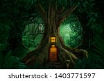 Small photo of Gigantic tree with house inside