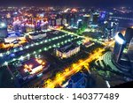 aerial view of city night | Shutterstock . vector #140377489