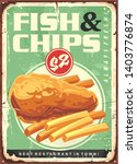 fish and chips retro ad tin... | Shutterstock .eps vector #1403776874