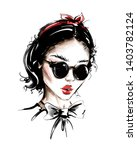 hand drawn beautiful young... | Shutterstock . vector #1403782124