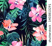 tropical seamless pattern. palm ... | Shutterstock .eps vector #1403813291