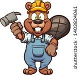 happy construction beaver... | Shutterstock .eps vector #1403824061