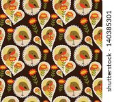 seamless pattern with birds and ... | Shutterstock .eps vector #140385301