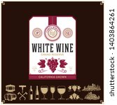 vector vintage white wine label.... | Shutterstock .eps vector #1403864261