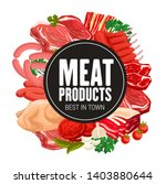 butcher shop meat and sausages... | Shutterstock .eps vector #1403880644