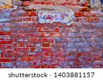 Worn Brick Wall Of Bright Red...