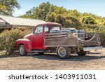 Red  Old Pickup Truck And Wine...