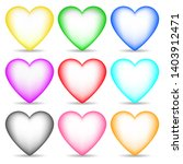 set of 3d colored hearts... | Shutterstock . vector #1403912471