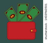red wallet with green paper... | Shutterstock .eps vector #1403960501