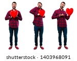 set of handsome man holding a... | Shutterstock . vector #1403968091