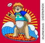 cute funny bear surfing wild... | Shutterstock .eps vector #1403969654