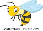 Cartoon Happy Wasp Isolated On...