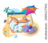 holidaymakers sunbathing on... | Shutterstock .eps vector #1404117941